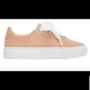 ZARA  Sneakers with Grommets Detail, Pink 8.5